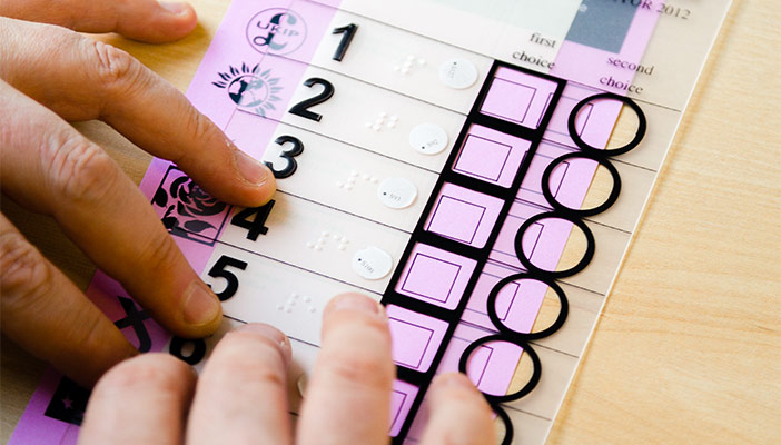 Voting at the General Election - A overlay that visually impaired users can use to vote